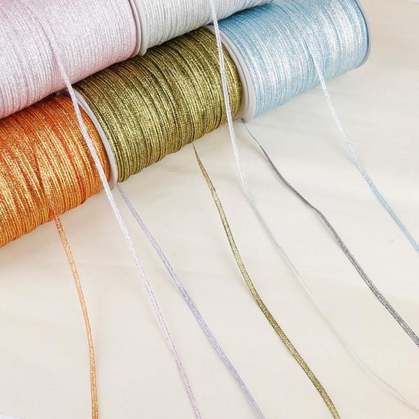 20 yards / lot Corde di confezionamento regalo nastro di glitter fatti a mano materiale fai da te cintura di imballaggio accessori di abbellimento festa di nozze