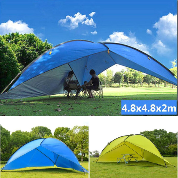 top popular 4.8x4.8m Waterproof Large Space Outdoor Beach Tent Sunshine Shelter Sturdy Sunshade Tent For Fishing Camping Hiking Picnic Park 2021