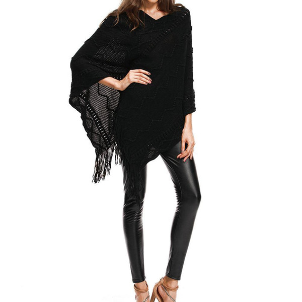 Batwing Sleeve Tops Cape Coat Autumn Winter Women Casual Tassel Sweater Warm Outwear V-neck Asymmetric Length Plus Size Pullover