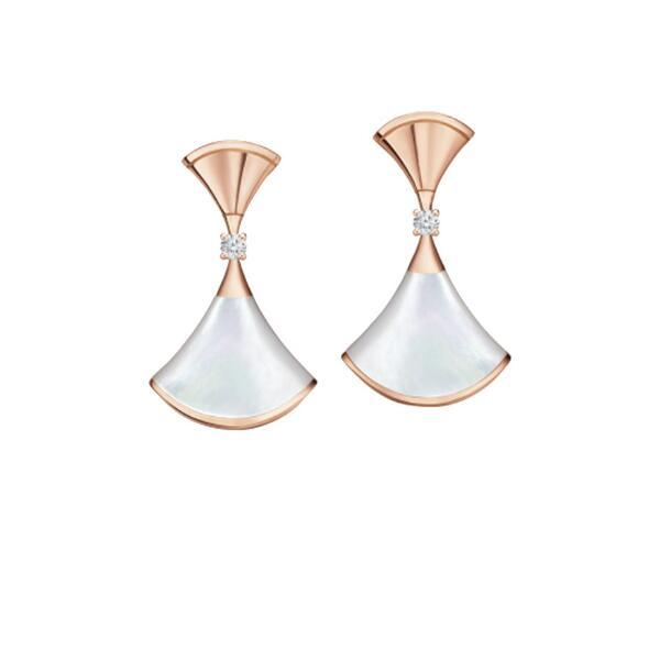 Tasarımcı B 925 Ayar Gümüş Fan Şekilli Etek Elbise Kadın Küpe sevgililer Günü Hediye Düğün Takı 1: 1 Yüksek Quanlity Sıcak