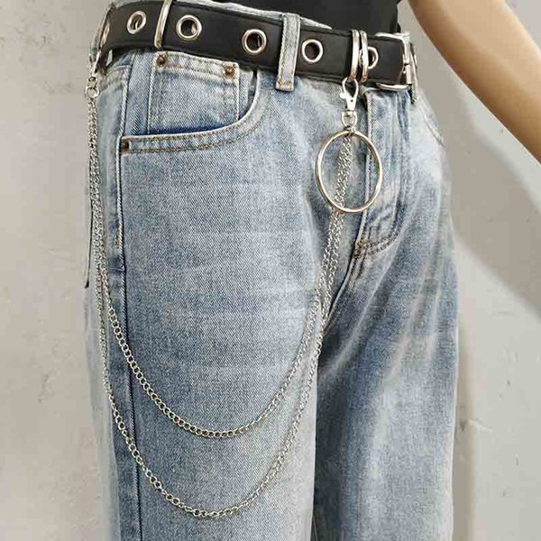 Men Boy Punk Hip-hop Trendy Belt Waist Chain Multilayer Male Pants Chain Jeans Punk Silver Metal Big Ring Pants Chains