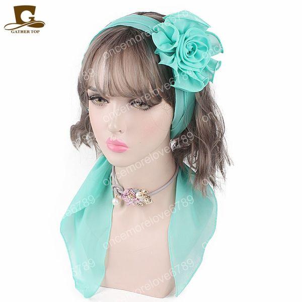 new Spring Women's Elegant Strench Chiffon Flower Hair Bands Headband decorative headwear turban headwrap hair accessories