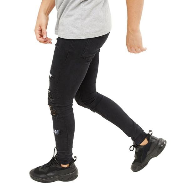 Buracos Fashion-Mens rasgado jeans slim preta moda Rapper Hiphop Skate Elastic Jean Calças Calças