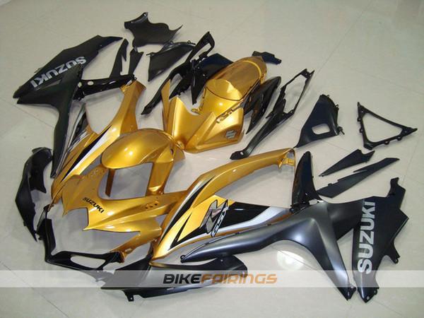 4Gifts новый ABS мотоцикл обтекатель обтекатель подходит для Suzuki GSXR600 GSXR750 K8 2008 2009 2010 08 09 10 комплект кузова Custom gold cool