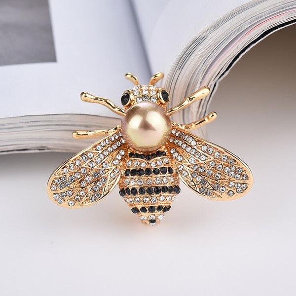 Bee Pins Brooch For Women Kids Girls - Luxury Designer Jewelry Brooches Fashion Accessories Gifts - Gold Alloy Imitation Pearl
