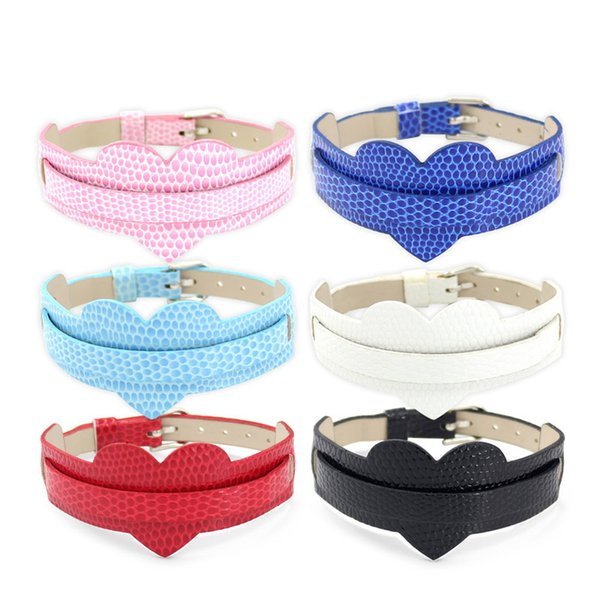 (10 pieces/lot) PU Leather Heart Wristband Bracelets high quality Bracelets Female Fit Slide Letter /Slide Charm LSBR012*10