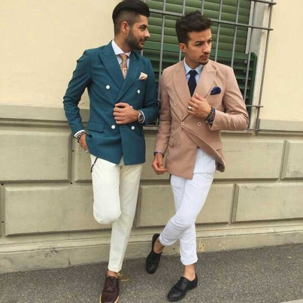 Prom Party Green Men Suits for Wedding Ivory Terno Masculino 2Piece(Jacket+Pants)Groom Wedding Tuxedo Suits Men Blazer White Costume Homme