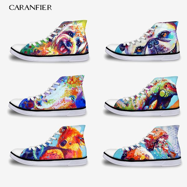 CARANFIER Student High Canvas Shoes Unisex Printing Cartoon Pattern Leisure Non-slip Four Seasons Universal Round Toe 35-45