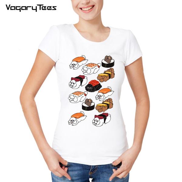 Women's Tee 2019 Harajuku Poodle Doodle Tshirt Women Elegant Style Funny Sushi Poodle Design T Shirt Summer Fashion Casual Tee Girl Cute Top
