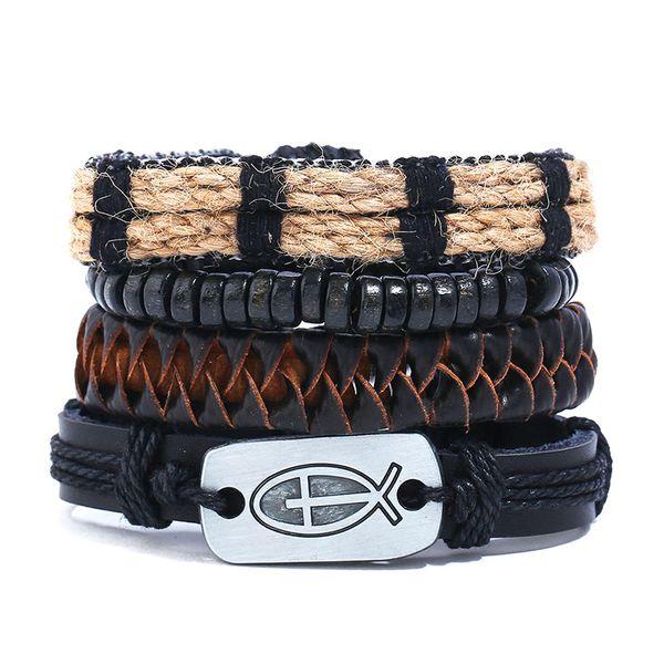 European and American fashion wild New DIY men's cross combination leather bracelet Personalized vintage woven leather suit bracelet