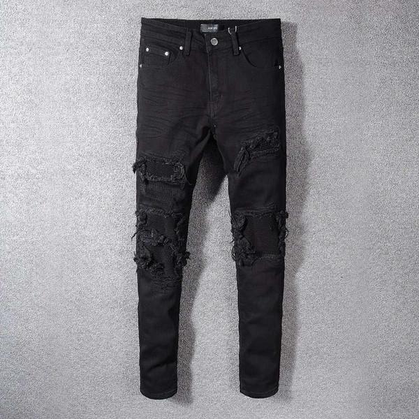 Fashion Streetwear Men Jeans Black Color Patchwork Destroyed Denim Pencil Pants Ripped Robin Jeans For Men Hip Hop Skinny Jeans hombre