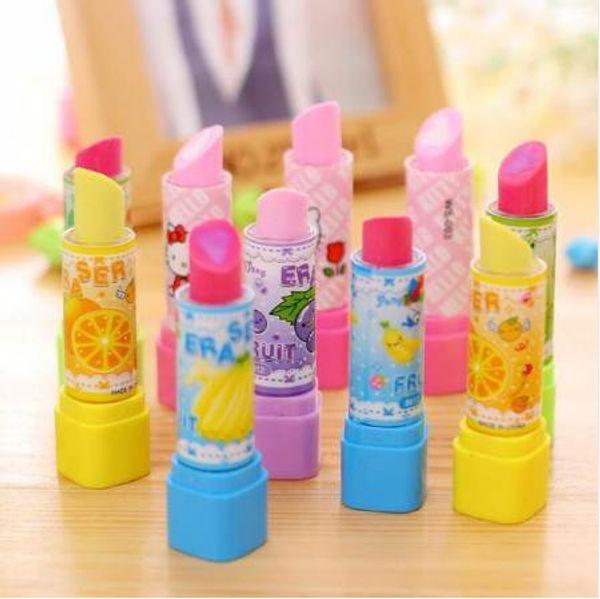 1pcs/lot Kawaii Lipstick design non-toxic eraser students' gift prize Children's educational toys office school supplies