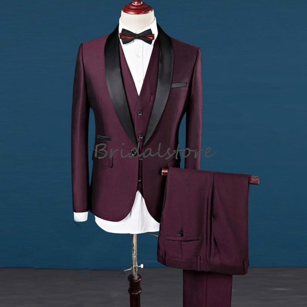 Scintillio elegante da uomo bordeaux in smoking da uomo Best Abiti da sera slim fit Smoking dello sposo formale indossa scialle bavero Groomsman Jacket Pants Vest
