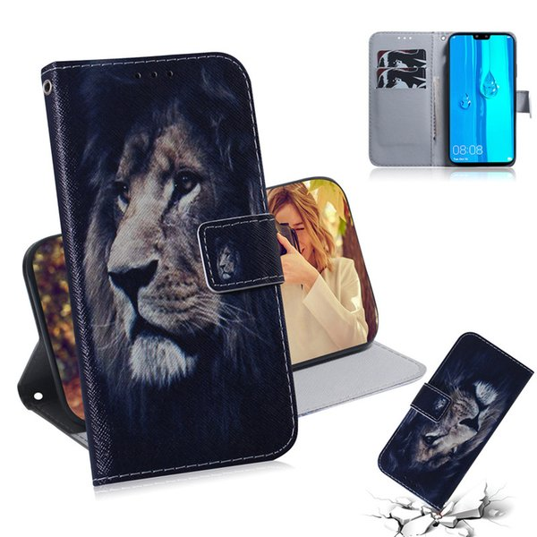 Wallet Case For Huawei Y9 2019 Cover Hot selling Coloured pattern Wolf tiger lion Owl Dog With Card Slot Design