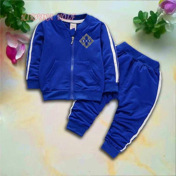 ÇOCUK Kartal Çocuklar Setleri 1-4 T Çocuk Hırka Fermuar Mont Pantolon 2 Adet / takım Çocuk Spor Setleri Uzun Kollu Kare Logo Çocuklar Yaz Suit