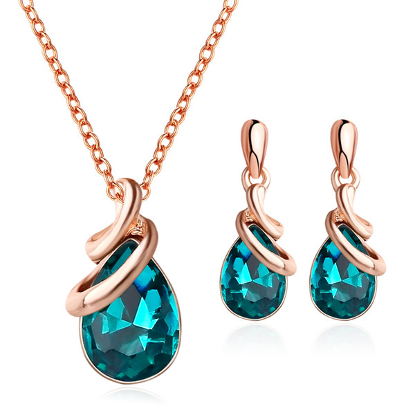 CZ Green Crystal Waterdrop Pendant Jewelry Sets Gold Plated Necklace Earrings 2piece/set Wedding Bride Woman Jewelry