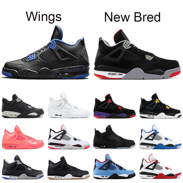 New Bred 4 mens basketball shoes 4s black red PALE CITRON cat PURE MONEY OREO white cement ALTERNATE Wings fashion men sports sneakers