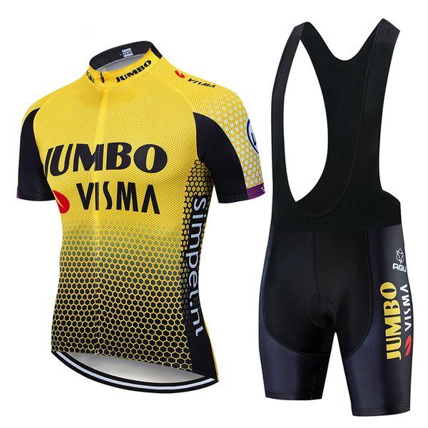 2019 Pro Team Jumbo Visma Radtrikot Set Herren Fahrrad Maillot MTB Racing Ropa Ciclismo Sommer schnell trocknend Fahrrad Tuch GEL Pad
