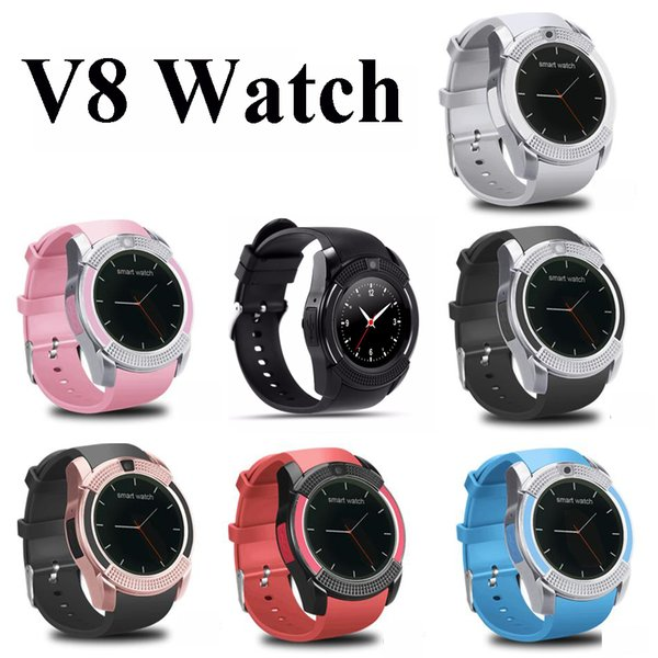 top popular V8 Smart Watch Bluetooth Watches Android with 0.3M Camera MTK6261D Smartwatch for android phone Micro Sim TF card with Retail Package 2020