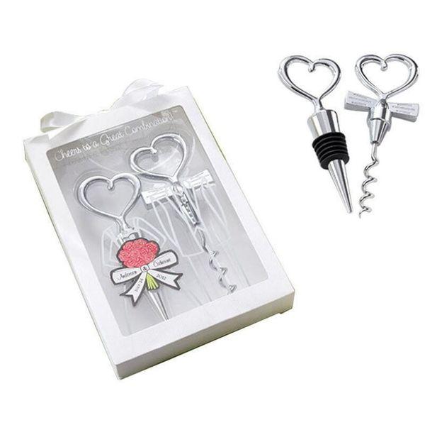 Heart Combination wine corkscrew wine opener and Wine Bottle Stopper Sets Wedding Souvenirs Guests 2pcs/set LX6725
