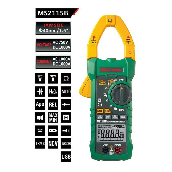 Freeshipping True RMS Digital Clamp Meter Multimeter DC AC Voltage Current Ohm Capacitance Frequency Tester with USB