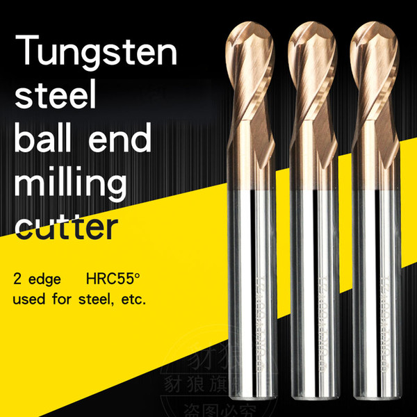 HRC55° 2 flute Tungsten steel Ball end milling cutter coating For steel CNC Tool Ball knife Arc endmill R 0.5 1 2 3 4 5 6 7 10 * 50 75 100