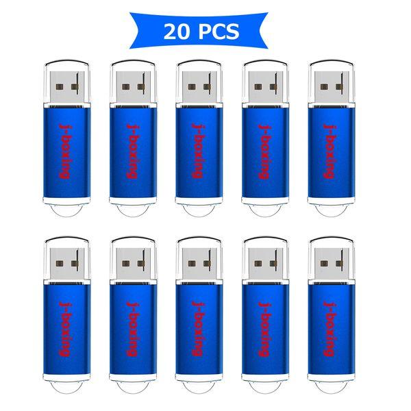 Blue Bulk 20pcs Rectangle USB Flash Drive 256MB Flash Pen Drive High Speed Thumb Memory Stick Storage for Computer Laptop Tablet Macbook