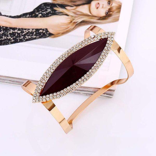 Nueva moda plata oro metal brazaletes mujeres moda resina cristal pulsera geométrica suave ancho abierto ajustable brazalete largo brazalete