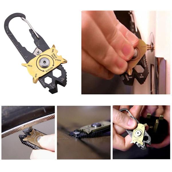 Großhandel 20 in 1 Multifunktions Schlüsselanhänger Kombinationswerkzeuge Outdoor Portable Schraubendreher Flaschenöffner Lineal Keychain DH0665 T03
