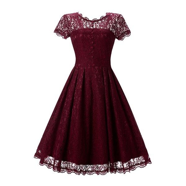 Hot Sale Vintage Sexy Lace Pleated Dress 2018 Women Short Sleeve Backless O Neck Party Dress