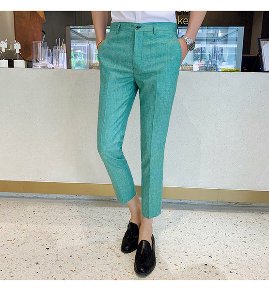 Men Suit Pants Mens Dress Pants For Wedding Party Formal Trousers Slim Fit Casual Solid Color Blue Pantalon Perfume masculino