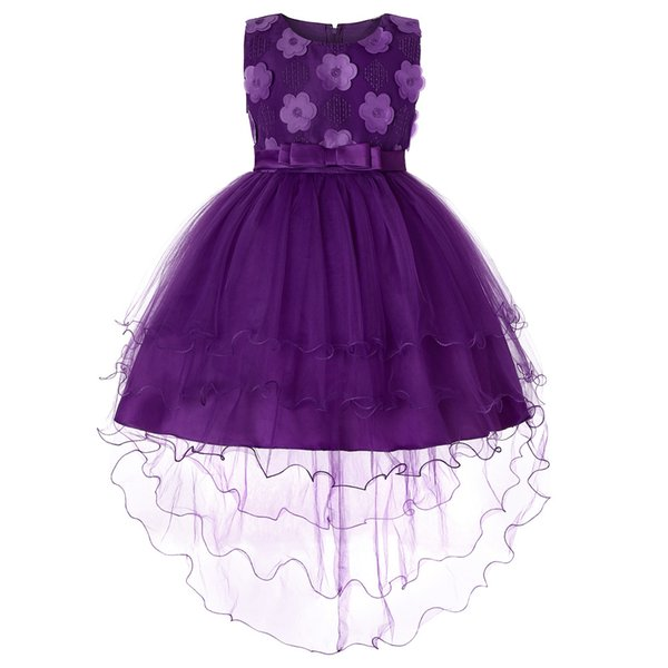 Baby Girls Tail Abiti Taglia 2 3 4 a 10 11 12 14 Anno Floral ricamo Viola Party Princess Costume Kids Birthday Dress 1M32A