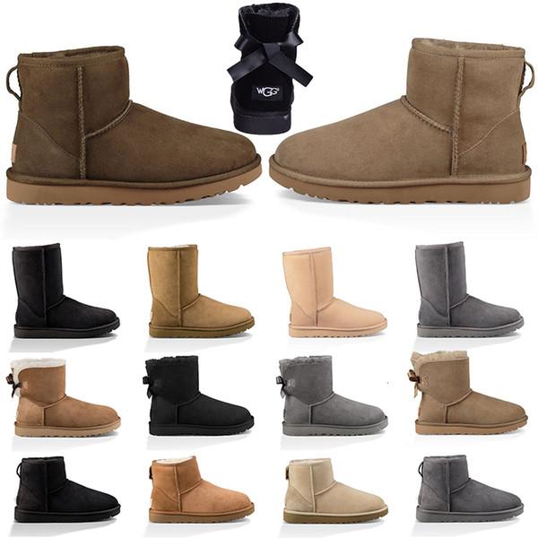 Designer pas cher Australie Boot pour les femmes d'hiver Bottes de neige cheville Arc court noir marron gris Rose Fashion Girl Outdoor Chaussures Taille 5-10