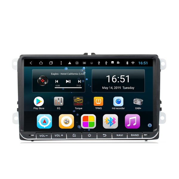 Android-Auto-Player mit GPS-Auflösung HD 1024 * 600 Multitouch-Multimedia-Player-Mikrofon für VW 9 Zoll