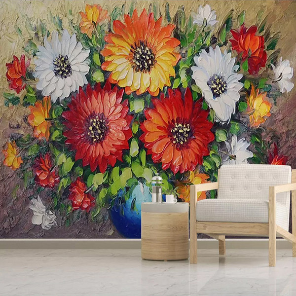 Custom 3D Wall Mural Wallpaper Non-woven Hand Painted Oil Painting Vase Flower Living Room Sofa Background Wall Decorative Paper