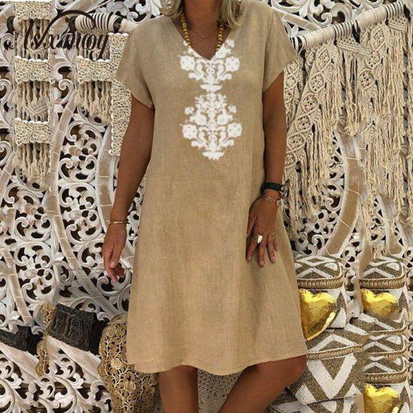 Women Dresses Knee Length Streetwear Fashion Summer Dress Women Plus Size 5xl Cotton Linen Dress Vintage Casual Vestidos Mujer Y19053001