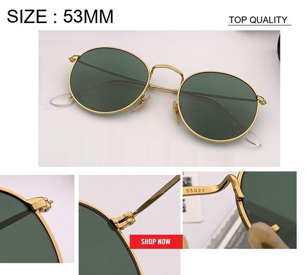 nuovo commercio all'ingrosso vintage occhiali da sole rotondi donne designer di marca cerchio occhiali da sole per donna femminile uomo uv400 oversize 53mm uv400 rd3447 gafas