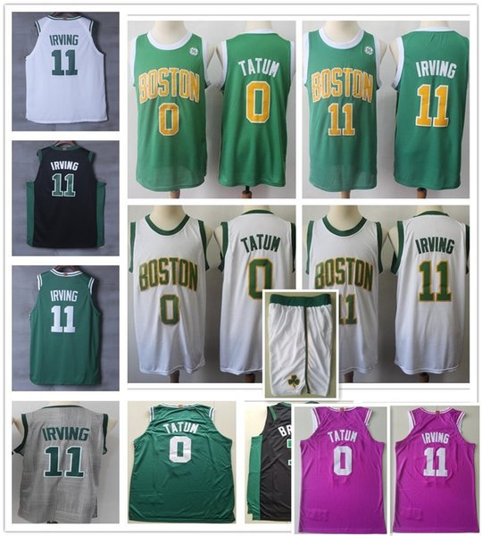 reputable site 96b9c af3b8 2019 Earned Edition Green 11 Kyrie Irving Jerseys City White Gold Black  Pink Grey 0 Jayson Tatum 7 Jaylen Brown Jersey Stitched Shorts From  Bujidao, ...