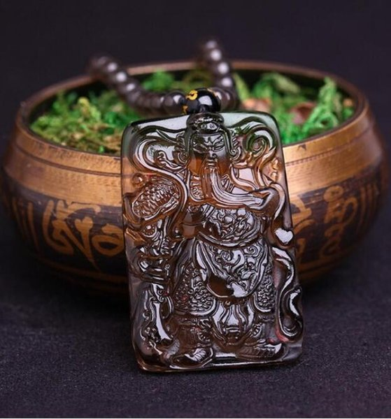 FREE SHIPPING Light natural goods ice, obsidian Guan Gong pendant man Necklace