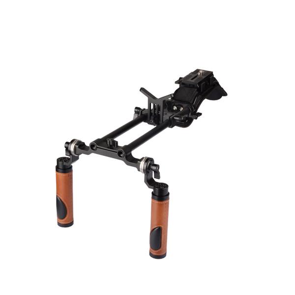 CAMVATE Pro Camcorder Shoulder Rig With Manfrotto QR Base Plate ARRI Rosette Dual Handgrip C2064