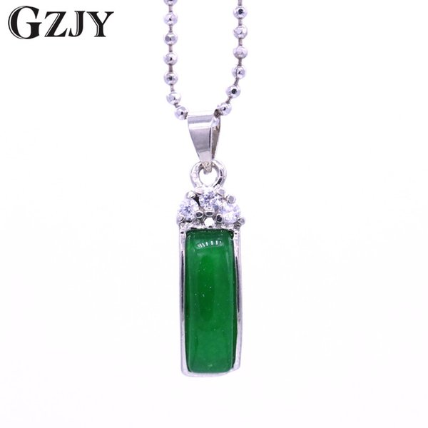 GZJY Fashion Jewelry Chain White Gold Color Rectangle Green Stone Crystal Pendant Necklace For Women Charm Birthday Gift bijoux