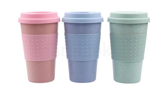Silica Gel Coffee Cup Wheat Straw Fiber Mug With Lid Plastic Car Tumblers Portable Silicone Coffee Cups Water Bottle da167