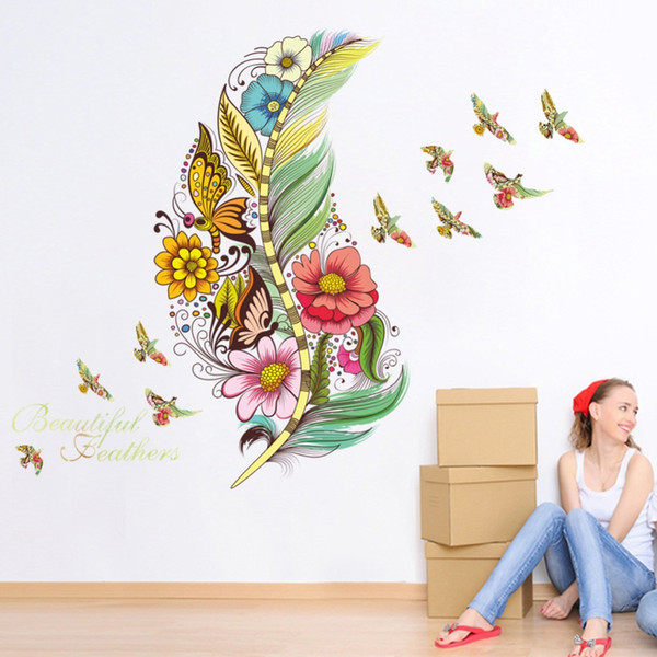 Colorful 3D Vivid Feather Flowers Wall Stickers Home Decor Butterfly Birds Art Mural PVC Self-adhesive Refrigerator Wallpaper