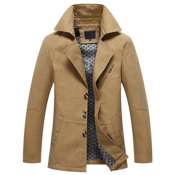 Hombres 2019 Spring New Business Casual Trench Coat Jacket Hombres Brand Fashion Manga larga 100% algodón Solid Washed Trench Coat Hombres T190824