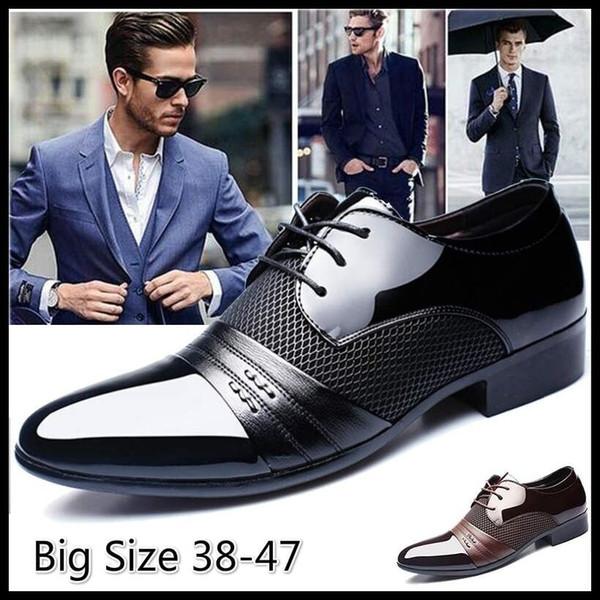 Classical Men Dress Flat Shoes Luxury Men'S Business Oxfords Casual Shoe Black Brown Leather Derby Shoes Mens Dress Suede Shoes Pumps Shoes From
