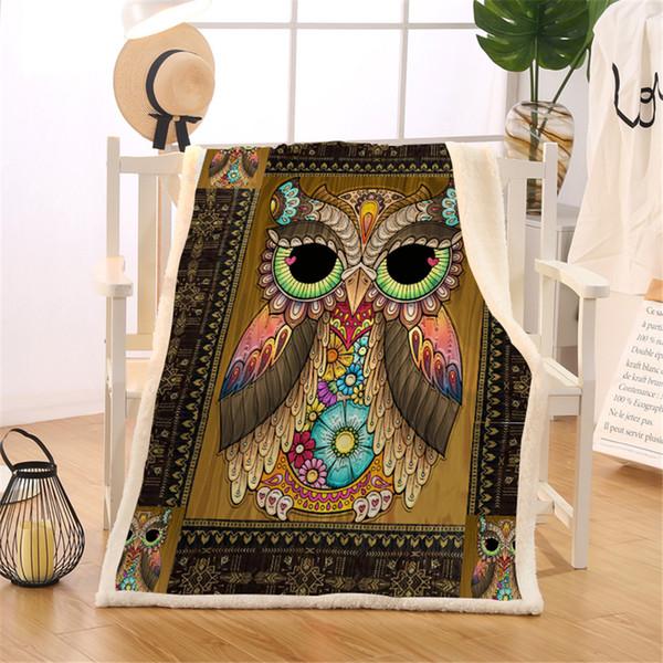 HM Leben Sherpa-Decke auf dem Sofa-Bett aztekische geometrische Printed Überwurfdecke Brown Vogel-Vintage Bedding Floral weiche dünne Quilt