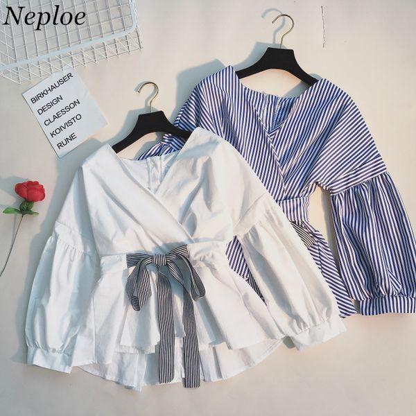 Neploe Japanese Spring Fashion Slim Shirts Ruffles Lace Up Long Sleeve Blusas Adjustable Waist V-neck Elegant Blouse 66619 J190622