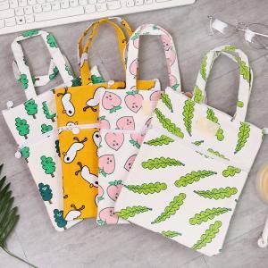 Tragbare Doppel-Reißverschluss-Handtasche aus Baumwolle Nette Karikaturstudentenverpackung Ablageproduktbeutel Draußen Einkaufen Einfach tragen Sie den Paketsack LJJT277
