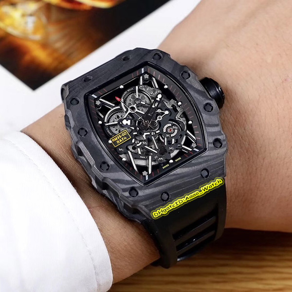 Edition rm 35 02 keleton dial carbon fiber ca e japan miyota automatic 35 02 men watch rubber trap port watche high quality