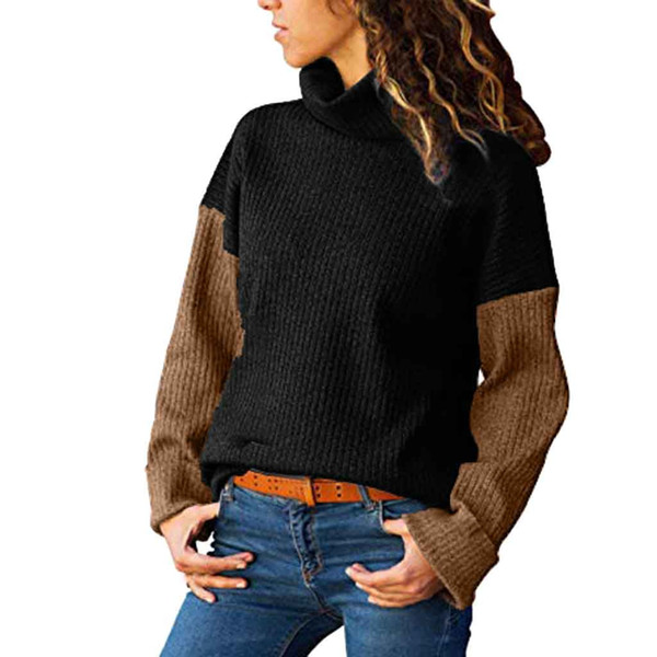 Fashion Women Sweater Women's Turtleneck Color Matching Long-Sleeved Slim Sweater Pullover Pull Cachemire Femme Hot Sale